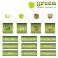 Green E-Commerce Button/Icon Set Royalty Free Stock Photo