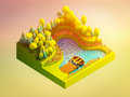Green earth concept in isometric view background Royalty Free Stock Image