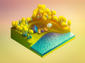 Green earth concept in isometric view background Stock Photos