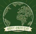 Green Earth Day Flat Poster, Vector Illustration