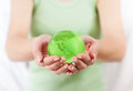 Green Earth Globe in Human Hands Royalty Free Stock Photo