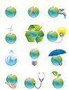Green earth icons Royalty Free Stock Image