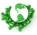 Green Earth with packages America oriented Stock Photography