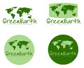 Green earth signs illustration set of with world maps white background Stock Images