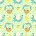 Green easter background with chickens vector seamless pattern Stock Photos