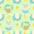 Green easter background with rabbit vector seamless pattern Stock Photos