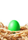 Green easter egg in a straw nest on white isolated background Royalty Free Stock Photo