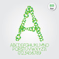 Green eco alphabet and digit vector set of Royalty Free Stock Images