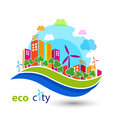 Green eco city with houses
