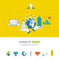 Green eco and eco friendly city concept smart city ecology buiding urban landscape color line icons Royalty Free Stock Images