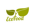 Green eco food logo with leaves Royalty Free Stock Photo