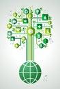 Green eco friendly planet tree