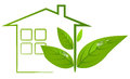 Green eco house with leafs and water drop Royalty Free Stock Photo