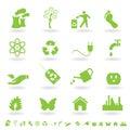 Green eco icon set Royalty Free Stock Photo