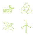 Green eco icons set. Vector illustration Royalty Free Stock Photo