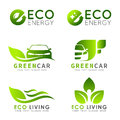 Green ECO logo with e letter , leaf and car vector set design Royalty Free Stock Photo