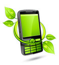 Green eco mobile telephone Royalty Free Stock Photo
