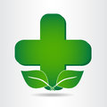 Green eco pharmacy medical cross. Logo template. Royalty Free Stock Photo