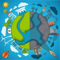 Green eco planet and environment pollution vector poster for save nature protection concept Royalty Free Stock Photo