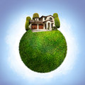 Green eco planet with house Royalty Free Stock Photo
