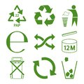 Green eco recycle and packaging sign icon set Royalty Free Stock Photo