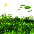 Green eco town illustration art Royalty Free Stock Image