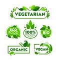 Green Eco Vegetarian Organic Food Icon Banner Set. Vegan Bio Nature Shop Badge Collection for Ecology Healthcare