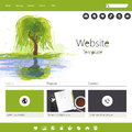 Green eco website template for business in editable vector template Stock Photography
