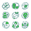 Green ecology energy conservation icons and outline style ecological world power vector illustration. Royalty Free Stock Photo