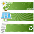 Green ecology horizontal banners a collection of three ecological and environmental with a camomile flower a solar panel icon and Royalty Free Stock Images