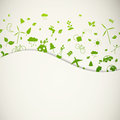 Green ecology icons illustration of different Royalty Free Stock Photo
