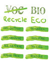 Green Ecology Icons and labels Stock Photography