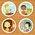 Green education stickers for kids Stock Photo