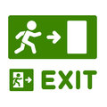 Green Emergency Exit Sign Set on White Background. Vector Royalty Free Stock Photo