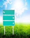 Green empty guidepost Royalty Free Stock Photography