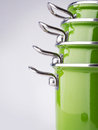 Green enamel pots Royalty Free Stock Photo
