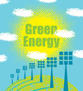 Green energy concept with solar panels Royalty Free Stock Photo