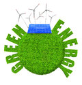 Green energy concepts planet with wind turbines and solar panel Stock Image