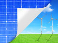 Green energy concepts from solar panels and wind turbines Royalty Free Stock Image