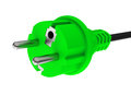 Green energy d generated picture of a power cable Royalty Free Stock Photo