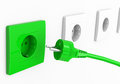 Green energy d generated picture of some sockets and a power cable Royalty Free Stock Photos