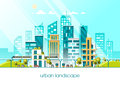 Green energy and eco friendly city. Modern architecture flat vector illustration 3d style.