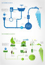 Green energy ecology info graphics collection industry charts symbols graphic elements Stock Photo