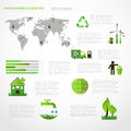 Green energy ecology info graphics collection industry charts symbols graphic elements Royalty Free Stock Photos