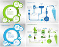 Green energy ecology info graphics collection industry charts symbols graphic elements Stock Images