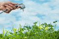 Green energy electrical plug watering a grass meadow as a symbol of and renewable Stock Image