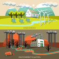Green energy and environment pollution banners with soiling cleanness of air mountains rivers vector illustration Stock Photo