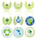Green energy icon set Stock Images