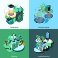 Green energy isometric design concept set with alternative bioenergy management icons isolated vector illustration Stock Image