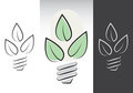 Green energy light bulbs symbols Stock Photography